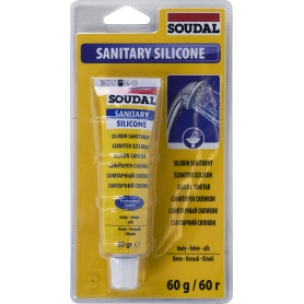 Герметик силиконовый санитарный белый Soudal, 60 мл
