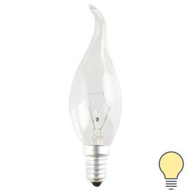 Лампа накаливания Bellight E14 230 В 60 Вт свеча на ветру прозрачная 3 м2 свет тёплый белый