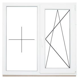 Окно ПВХ двустворчатое 116х120 см глухое/поворотное правое однокамерное