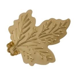 Клипса «Лист» металл цвет матовое золото