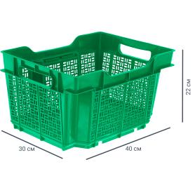 Ящик полимерный многооборотный 40х30х22 см, пластик цвет зеленый