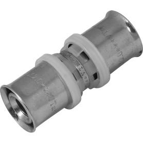 Соединитель пресс Valtec, 20х20 мм, никелированная латунь