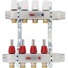 """Коллекторная группа Valtec со встроенными расходомерами, 1""""х3/4"""", 4 выхода, евроконус VTc.586.EMNX.0604"""