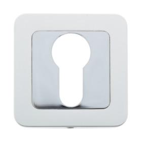 Накладка под евроцилиндр E ЕТ цвет белое серебро