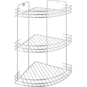 Полка для ванной комнаты Аквалиния трёхъярусная угловая металл