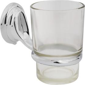 Стакан подвесной для зубных щёток, металл/стекло, цвет хром