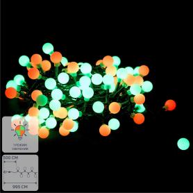 Электрогирлянда наружная нить «Шары» 4.95 м 100 LED зелёный красный