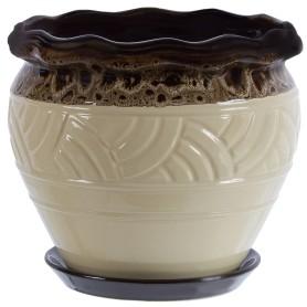 Горшок цветочный Дарья ø21.7 h18.2 см v4.2 л керамика бежевый/коричневый