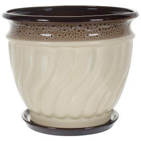 Горшок цветочный Танго ø27.5 h22.7 см v8 л керамика бежевый/коричневый