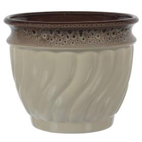Горшок цветочный Танго ø22.5 h18.6 см v4.5 л керамика бежевый/коричневый