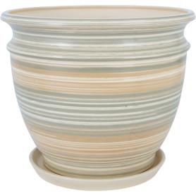 Горшок цветочный Уют ø29 h22.8 см v7.7 л керамика бежевый/серый