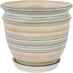 Горшок цветочный Уют ø23.3 h18.6 см v4.2 л керамика бежевый/серый