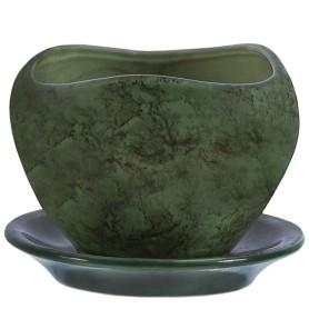 Горшок цветочный «Флокс» D9, 0, 35л., керамика, Зеленый