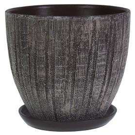 Горшок цветочный «Меланж» D22, 4, 8л., керамика, Коричневый, Серый / Серебристый