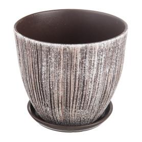 Горшок цветочный «Меланж» D26, 8, 5л., керамика, Коричневый, Серый / Серебристый