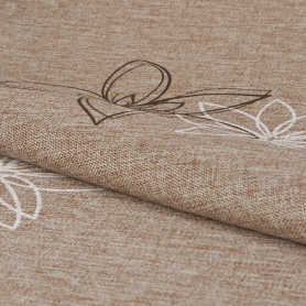Ткань «Цветы» 1 п/м 280 см лён цвет коричневый