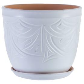 Горшок цветочный Узоры ø24.5 h20.5 см v7.9 л керамика молочный
