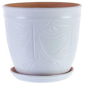 Горшок цветочный Узоры ø28 h26 см v14.4 л керамика молочный