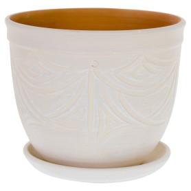 Горшок цветочный Узоры ø18.5 h17 см v4.2 л керамика бежевый