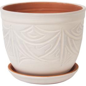 Горшок цветочный Узоры ø24.5 h20.5 см v7.9 л керамика бежевый