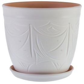 Горшок цветочный Узоры ø28 h26 см v14.4 л керамика бежевый
