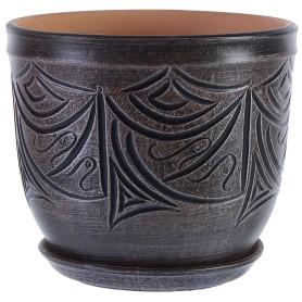 Горшок цветочный «Узоры» D24, 8л., керамика, Серый / Серебристый