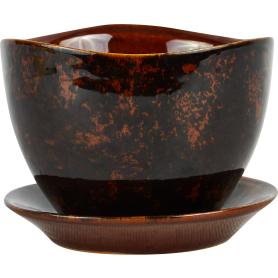 Горшок цветочный «Флокс» D9, 0, 35л., керамика, Коричневый