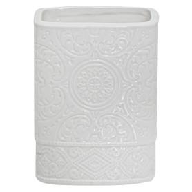 Стакан для зубных щёток настольный «Ажур» керамика цвет белый