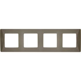 Рамка для розеток и выключателей Legrand Etika 4 поста, цвет светлая галька