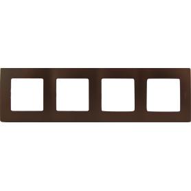 Рамка для розеток и выключателей Legrand Etika 4 поста, цвет какао