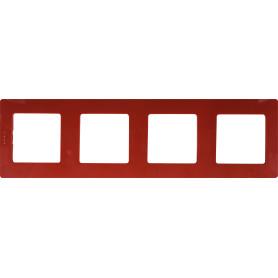 Рамка для розеток и выключателей Legrand Etika 4 поста, цвет красный