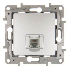 Телефонная розетка встраиваемая Legrand Etika RJ11, цвет алюминий