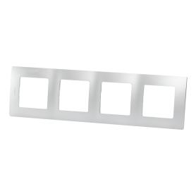 Рамка для розеток и выключателей Legrand Etika 4 поста, цвет алюминий