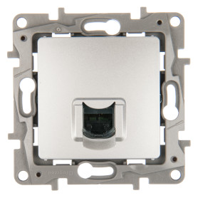Розетка компьютерная встраиваемая Legrand Etika RJ45, UTP cat 6, цвет алюминий