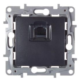 Розетка компьютерная встраиваемая Legrand Etika RJ45, UTP cat 6, цвет антрацит