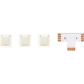 Коннекторы для RGB светодиодной ленты 5050 12-24 В 10 мм IP20 Т-образный 3 клипсы, контакты по центру
