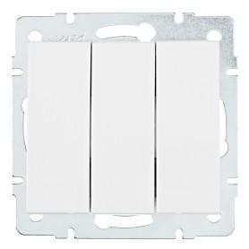Выключатель встраиваемый Lezard Rain 3 клавиши, цвет белый