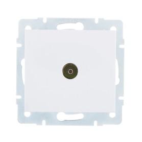 ТВ-розетка оконечная встраиваемая Lezard Rain шлейф, цвет белый