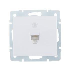 Телефонная розетка встраиваемая Lezard Rain RJ11, цвет белый