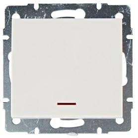 Выключатель встраиваемый Lezard Rain 1 клавиша с подсветкой, цвет бежевый