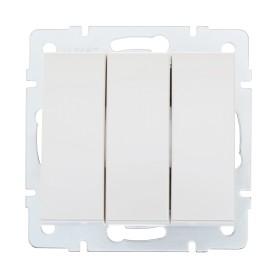 Выключатель встраиваемый Lezard Rain 3 клавиши, цвет жемчужно-белый