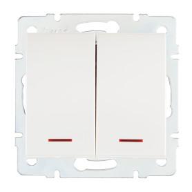 Выключатель встраиваемый Lezard Rain 2 клавиши с подсветкой, цвет жемчужно-белый матовый