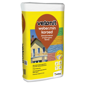 Штукатурка цементная декоративная Weber Vetonit Min короед 2.5 20 кг