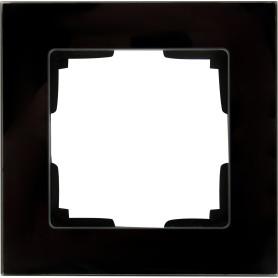 Рамка для розеток и выключателей Werkel Favorit 1 пост, стекло, цвет чёрный