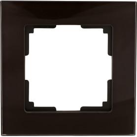 Рамка для розеток и выключателей Werkel Favorit 1 пост, стекло, цвет коричневый