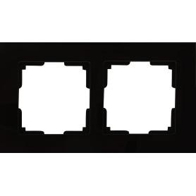 Рамка для розеток и выключателей Werkel Favorit 2 поста, стекло, цвет чёрный
