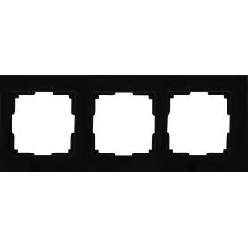 Рамка для розеток и выключателей Werkel Favorit 3 поста, стекло, цвет чёрный