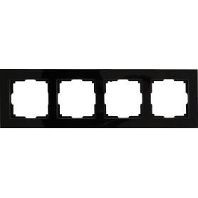 Рамка для розеток и выключателей Werkel Favorit 4 поста, стекло, цвет чёрный