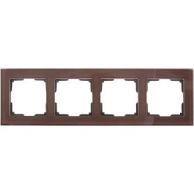 Рамка для розеток и выключателей Werkel Favorit 4 поста, стекло, цвет коричневый