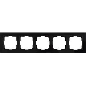 Рамка для розеток и выключателей Werkel Favorit 5 постов, стекло, цвет чёрный